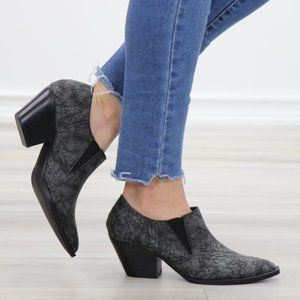 Slip On Gray & Black Snake Texture Low Cut Booties